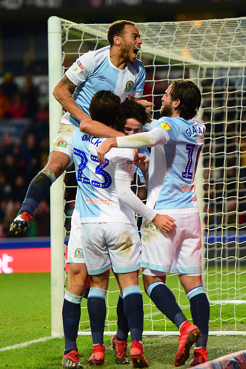 Blackburn Rovers' Bradley Dack celebrates scoring his side's second goal with his team-mates<br /> <br /> Photographer Richard Martin-Roberts/CameraSport<br /> <br /> The EFL Sky Bet Championship - Blackburn Rovers v West Bromwich Albion - Tuesday 1st January 2019 - Ewood Park - Blackburn<br /> <br /> World Copyright © 2019 CameraSport. All rights reserved. 43 Linden Ave. Countesthorpe. Leicester. England. LE8 5PG - Tel: +44 (0) 116 277 4147 - admin@camerasport.com - www.camerasport.com