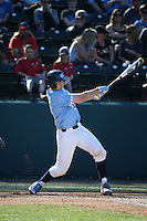 Cody Roberts (11) of the North Carolina Tar Heels bats against the UCLA Bruins at Jackie Robinson Stadium on February 20, 2016 in Los Angeles, California. UCLA defeated North Carolina, 6-5. (Larry Goren/Four Seam Images)