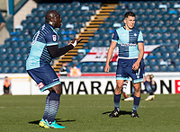 Animated Adebayo Akinfenwa of Wycombe Wanderers during the Sky Bet League 2 match between Wycombe Wanderers and Notts County at Adams Park, High Wycombe, England on the 25th March 2017. Photo by Liam McAvoy.