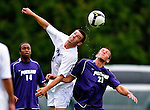 13 September 2009: University of New Hampshire Wildcats' midfielder/forward Charlie Roche, a Freshman from Haverhill, MA, heads the ball against the University of Portland Pilots during the second round of the 2009 Morgan Stanley Smith Barney Soccer Classic held at Centennial Field in Burlington, Vermont. The Pilots defeated the Wildcats 1-0 and inso doing were the Tournament Champions for 2009. Mandatory Photo Credit: Ed Wolfstein Photo