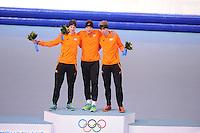 OLYMPICS: SOCHI: Adler Arena, 08-02-2014, 5000 m Men, podium, Jan Blokhuijsen (NED), Sven Kramer (NED), Jorrit Bergsma (NED), ©foto Martin de Jong