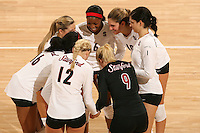 30 November 2007: Franci Girard, Alix Klineman, Cynthia Barboza, Gabi Ailes, Erin Waller, Franci Girard and Bryn Kehoe during Stanford's 3-0 win over Santa Clara University in the first round of the NCAA Division 1 Women's Volleyball Championships in Maples Pavilion in Stanford, CA.