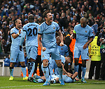 Frank Lampard of Manchester City celebrates the wining goal by Sergio Aguero - UEFA Champions League group E - Manchester City vs Bayern Munich - Etihad Stadium - Manchester - England - 25rd November 2014  - Picture Simon Bellis/Sportimage