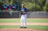 Milwaukee Brewers relief pitcher Brady Schanuel (61) gets ready to deliver a pitch during an Instructional League game against the Los Angeles Dodgers at Maryvale Baseball Park on September 24, 2018 in Phoenix, Arizona. (Zachary Lucy/Four Seam Images)