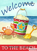 Ingrid, MODERN, MODERNO, paintings+++++,USISNL01S1A,#N#,beach,crab,sand,bucket,welcome ,everyday