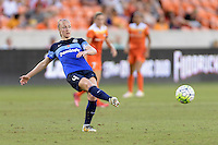 Houston, TX - Sunday June 19, 2016: Becky Sauerbrunn during a regular season National Women's Soccer League (NWSL) match between the Houston Dash and FC Kansas City at BBVA Compass Stadium.