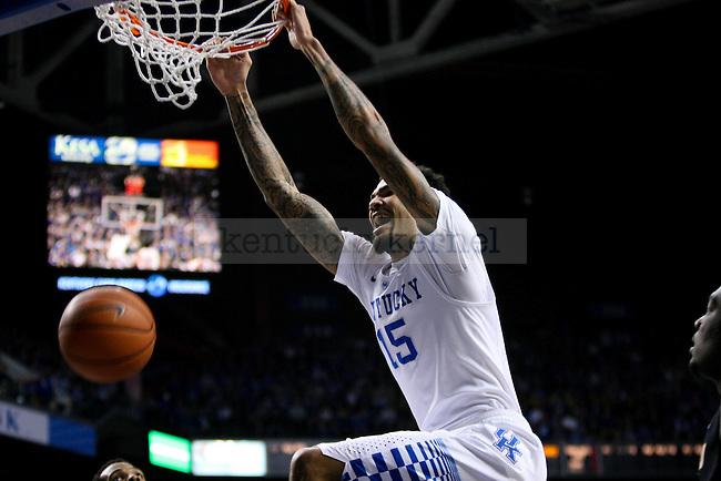 UK forward Willie Cauley-Stein smiles just after a dunk during the first half of the University of Kentucky versus University of Missouri men's basketball game at Rupp Arena in Lexington, Ky., on Tuesday, January 13, 2015. Photo by Cameron Sadler | Staff