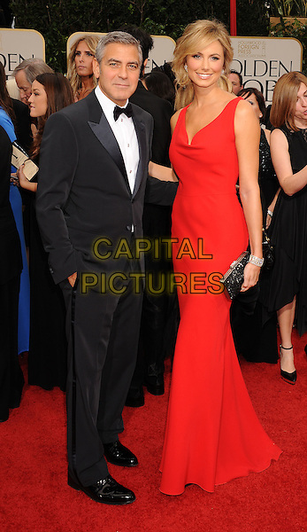 George Clooney and Stacy Keibler.Arrivals at the 69th Annual Golden Globe Awards at The Beverly Hilton Hotel, Beverly Hills, California, USA..January 15th, 2012.globes full length red sleeveless dress black tuxedo couple .CAP/GDG.©GDG/Capital Pictures