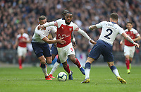 Arsenal's Alexandre Lacazette gets in between Tottenham Hotspur's Toby Alderweireld and Kieran Trippier<br /> <br /> Photographer Rob Newell/CameraSport<br /> <br /> The Premier League - Tottenham Hotspur v Arsenal - Saturday 2nd March 2019 - Wembley Stadium - London<br /> <br /> World Copyright © 2019 CameraSport. All rights reserved. 43 Linden Ave. Countesthorpe. Leicester. England. LE8 5PG - Tel: +44 (0) 116 277 4147 - admin@camerasport.com - www.camerasport.com