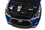Car Stock 2017 Hyundai Veloster Turbo-Manual 5 Door Hatchback Engine  high angle detail view