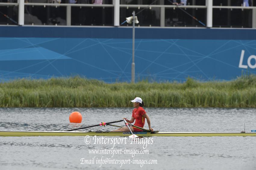 Eton Dorney, Windsor, Great Britain,..2012 London Olympic Regatta, Dorney Lake. Eton Rowing Centre, Berkshire[ Rowing]...Description: CHN W1X. Women's single Sculls., Dorney Lake..11:27:53  Thursday  02/08/2012..[Mandatory Credit: Peter Spurrier/Intersport Images].