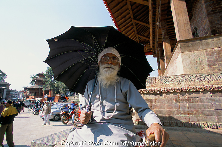 A holy personn at Durbar square in Kathmandu City, Nepal