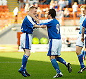 04/09/2004   Copyright Pic : James Stewart.File Name : jspa07_hamilton_v_stjohnstone.MARK BAXTER (LEFT) CELEBRATES WITH STEPHEN MCCONALOGUE AFTER SCORING ST JOHNSTONE'S EQUALISER....Payments to :.James Stewart Photo Agency 19 Carronlea Drive, Falkirk. FK2 8DN      Vat Reg No. 607 6932 25.Office     : +44 (0)1324 570906     .Mobile  : +44 (0)7721 416997.Fax         :  +44 (0)1324 570906.E-mail  :  jim@jspa.co.uk.If you require further information then contact Jim Stewart on any of the numbers above.........