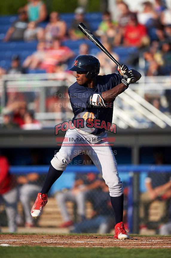 State College Spikes left fielder Vincent Jackson (40) at bat during a game against the Batavia Muckdogs on June 24, 2016 at Dwyer Stadium in Batavia, New York.  State College defeated Batavia 10-3.  (Mike Janes/Four Seam Images)