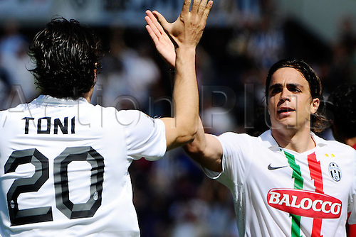 10.04.2011 Serie A Football from Stadio Olimpico Grande Torino, Italy. Juventus v Genoa. Picture shows Alessandro Matri and Luca Toni goal celebration.
