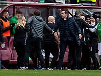 26th December 2019; Tynecastle Park, Edinburgh, Scotland; Scottish Premiership Football, Heart of Midlothian versus Hibernian FC; Daniel Stendel manager of Hearts and Jack Ross Hibernian Manager shake hands at full time  - Editorial Use