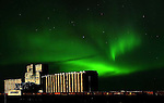 PORT OF CHURCHILL AND THE NORTHERN LIGHTS,  'Aurora borealis' CHURCHILL, MANITOBA, CANADA