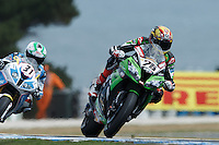 Loris Baz (FRA) riding the Kawasaki ZX-10R (76) of the Kawasaki Racing Team exits turn 6 during a qualifying session on day one of round one of the 2013 FIM World Superbike Championship at Phillip Island, Australia.