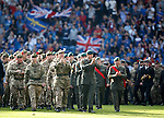 Armed Forces on parade on the Ibrox pitch at half-time