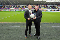 Swansea club ambassador Lee Trundle with match ball sponsors before the Barclays Premier League match between Swansea City and Crystal Palace at the Liberty Stadium, Swansea on February 06 2016