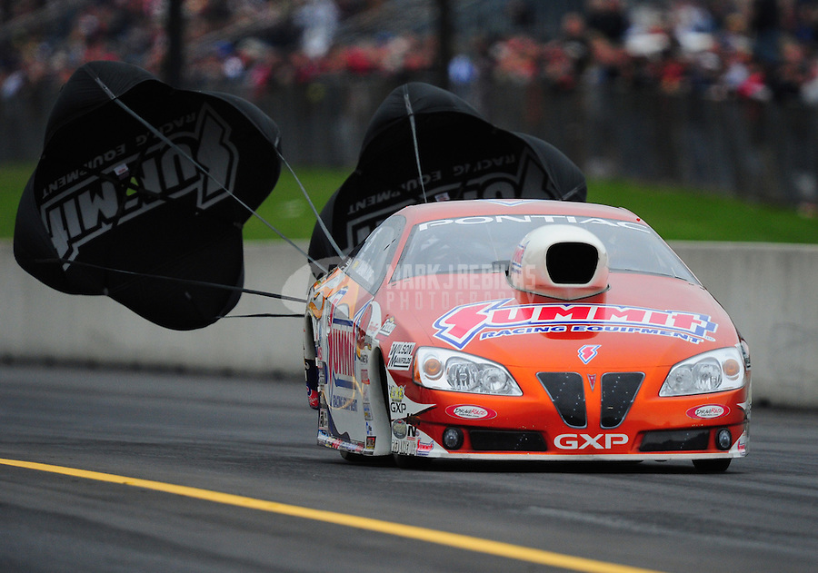 Oct. 1, 2011; Mohnton, PA, USA: NHRA pro stock driver Jason Line during qualifying for the Auto Plus Nationals at Maple Grove Raceway. Mandatory Credit: Mark J. Rebilas-