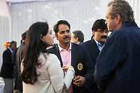 (L-R) Princess Diya Kumari and Maharaj Narendra Singh of Jaipur speak with Western Australian Polo Team captain Greg Johnson (right) at the high tea event after the Argyle Pink Diamond Cup, organised as part of the 2013 Oz Fest in the Rajasthan Polo Club grounds in Jaipur, Rajasthan, India on 10th January 2013. Photo by Suzanne Lee