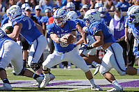 October 22, 2016 - Colorado Springs, Colorado, U.S. -   Air Force quarterback, Nate Romine #6, and the Falcon offense dominate the rushing game during the NCAA Football game between the University of Hawaii Rainbow Warriors and the Air Force Academy Falcons, Falcon Stadium, U.S. Air Force Academy, Colorado Springs, Colorado.  Hawaii defeats Air Force in double overtime 43-27.