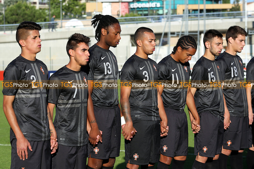 The Portugal players during their national anthem - China Under-20 vs Portugal Under-20 - Toulon Tournament Group A Football at Stad de Lattre, Aubagne, France - 27/05/14 - MANDATORY CREDIT: Paul Dennis/TGSPHOTO - Self billing applies where appropriate - contact@tgsphoto.co.uk - NO UNPAID USE