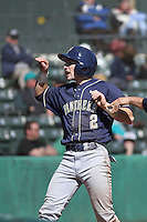 University of Pittsburgh infielder Dylan Wolsonovich #2 after scoring a run during a game against the Coastal Carolina University Chanticleers at Ticketreturn.com Field at Pelicans Ballpark on February 16, 2014 in Myrtle Beach, South Carolina. Pittsburgh defeated Coastal Carolina by the score of 10-6. (Robert Gurganus/Four Seam Images)