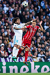 Marcelo Vieira Da Silva (L) of Real Madrid fights for the ball with Joshua Kimmich of FC Bayern Munich during the UEFA Champions League Semi-final 2nd leg match between Real Madrid and Bayern Munich at the Estadio Santiago Bernabeu on May 01 2018 in Madrid, Spain. Photo by Diego Souto / Power Sport Images