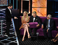"BEVERLY HILLS - SEPTEMBER 7: Sean Hayes, Ireland Baldwin, Alec Baldwin, Robert De Niro appear onstage at the ""Comedy Central Roast of Alec Baldwin"" at the Saban Theatre on September 7, 2019 in Beverly Hills, California. (Photo by Frank Micelotta/PictureGroup)"