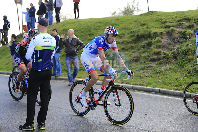 Anthony Roux (FRA) FDJ at the summit of the 30% gradient climb of Colma di Sormano during the last classic of the season Il Lombardia 2015 running 245km from Bergamo to Como, Italy. 4th October 2015.<br /> Picture: Eoin Clarke | Newsfile