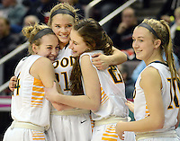 From left, Archbishop Wood's Claire Bassetti, Bailey Greenberg, Erin Morgan and Emma Stanfield celebrate after defeating Villa Maria to win the girls basketball PIAA Class AAA state championship Saturday March 19, 2016 at the Giant Center in Hershey, Pennsylvania (Photo By William Thomas Cain)
