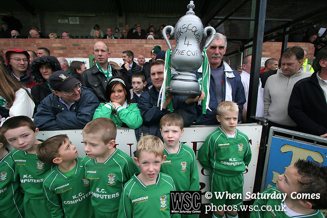 Burscough 3, Gillingham 2, 05/11/2005. Victoria Park, Burscough, FA Cup first round. The mascots waiting for the teams to come out before the match. The team from the Northern Premier League Premier Division defeated their Football League Championship rivals by 3-2 with two goals in the last minute, watched by a crowd of 1927 spectators. Photo by Colin McPherson.