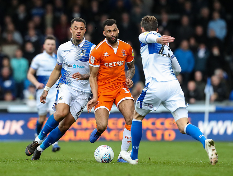 Blackpool's Curtis Tilt competing with Bristol Rovers' Jonson Clarke-Harris and Joe Partington<br /> <br /> Photographer Andrew Kearns/CameraSport<br /> <br /> The EFL Sky Bet League Two - Bristol Rovers v Blackpool - Saturday 2nd March 2019 - Memorial Stadium - Bristol<br /> <br /> World Copyright © 2019 CameraSport. All rights reserved. 43 Linden Ave. Countesthorpe. Leicester. England. LE8 5PG - Tel: +44 (0) 116 277 4147 - admin@camerasport.com - www.camerasport.com
