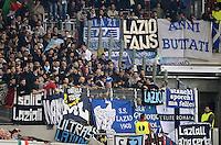 FUSSBALL   INTERNATIONAL   UEFA EUROPA LEAGUE   SAISON 2012/2013    Achtelfinale Hinspiel VfB Stuttgart - Lazio Rom      07.03.2013 Lazio Fans im Gaestefanblock der Mercedes Benz Arena mit Banner und Plakaten in der 1. Halbzeit