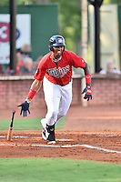 Elizabethton Twins first baseman Lewin Diaz (44) swings at a pitch during a game against the Bristol Pirates at Joe O'Brien Field on July 30, 2016 in Elizabethton, Tennessee. The Twins defeated the Pirates 6-3. (Tony Farlow/Four Seam Images)