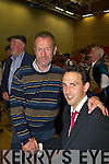 Sean Kelly with his former student Patrick O'Connor-Scarteen at the Kerry County Council Killorglin area election count in the Aura Sports Centre in Killarney on Saturday.