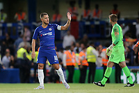 Eden Hazard waves to the Chelsea fans at the end of the match during Chelsea vs Lyon, International Champions Cup Football at Stamford Bridge on 7th August 2018