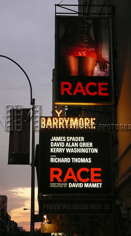 RACE.Theatre Marquee for.David Mamet will direct the world premiere of his new Broadway play, Race. The show will star James Spader, Richard Thomas, David Alan Grier, and Kerry Washington at the Barrymore Theatre in New York City..October 21, 2009.© Walter McBride /  .