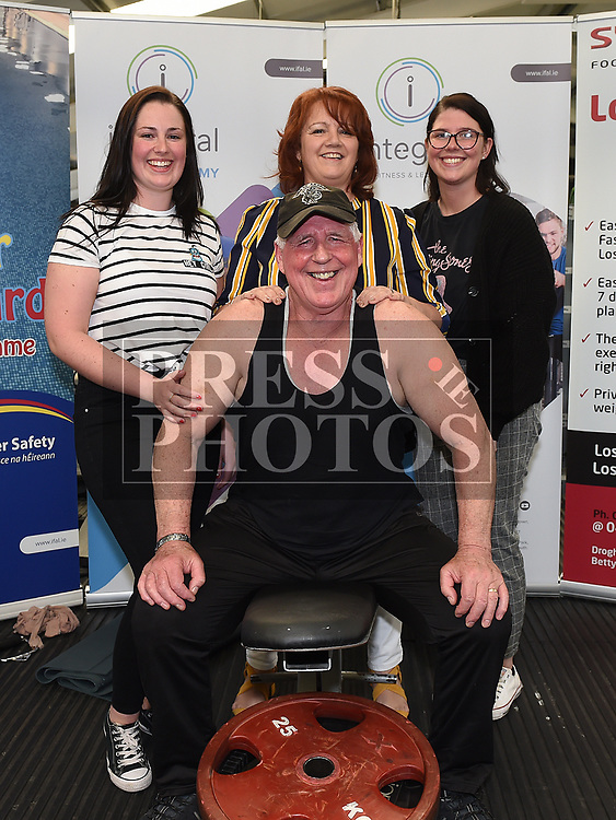 Liam O'Keefe who performed 3019 reps in less than an hour in Integral Gym to raise funds for Hannah The Princess Warrior pictured with his family. Photo:Colin Bell/pressphotos.ie