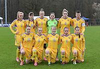 20150404 - FORST , GERMANY  : Ukrainian team pictured with  Viktoriia Kyslova (12) , Tetiana Levytska (2) , Anastasiya Sirmay (4) , Veronika Andrukhiv (5) , Yuliia Shevchuk (6) , Stefania Matviishyn (8) , Viktoriya Holovach (10) , Tetyana Kozyrenko (11) ,  Tetiana Polyukhovych (16) , Sofia Ruban (19) and Roksolana Kravchuk (22) during the soccer match between Women Under 19 teams of Belgium and Ukraine , on the first matchday in group 5 of the UEFA Elite Round Women Under 19 at WaldseeStadion , Forst , Germany . Saturday 4th April 2015 . PHOTO DAVID CATRY