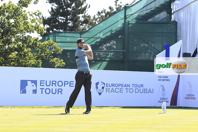 Scott Jamieson (SCO) on the 1st tee during Round 2 of the D&amp;D Real Czech Masters 2016 at the Albatross Golf Club, Prague on Friday 19th August 2016.<br /> Picture:  Thos Caffrey / www.golffile.ie<br /> <br /> All photos usage must carry mandatory copyright credit   (&copy; Golffile | Thos Caffrey)