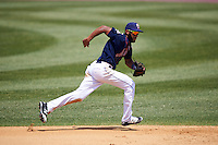 Binghamton Mets shortstop Amed Rosario (1) fields a ground ball during a game against the Richmond Flying Squirrels on June 26, 2016 at NYSEG Stadium in Binghamton, New York.  Binghamton defeated Richmond 7-2.  (Mike Janes/Four Seam Images)