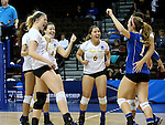 SIOUX FALLS, SD - DECEMBER 8:  Angelo State celebrates a point against Alaska Anchorage in the Women's Division II Volleyball Championship Thursday at the Sanford Pentagon in Sioux Falls, SD.  (Photo by Dave Eggen/Inertia)