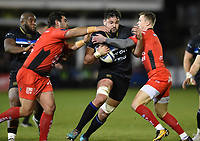 Elliott Stooke of Bath Rugby takes on the Toulon defence. European Rugby Champions Cup match, between Bath Rugby and RC Toulon on December 16, 2017 at the Recreation Ground in Bath, England. Photo by: Patrick Khachfe / Onside Images