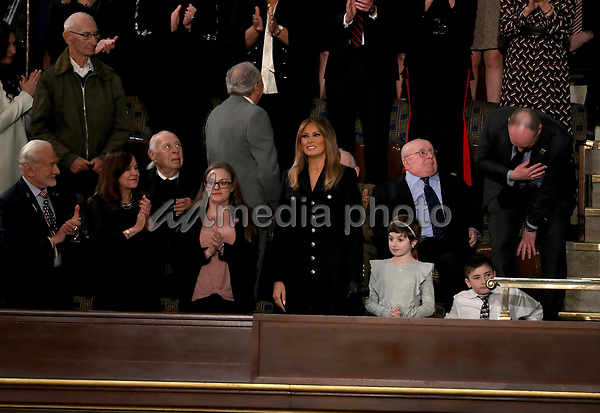 First lady Melania Trump arrives prior to United States President Donald J. Trump delivering his second annual State of the Union Address to a joint session of the US Congress in the US Capitol in Washington, DC on Tuesday, February 5, 2019. Photo Credit: Alex Edelman/CNP/AdMedia