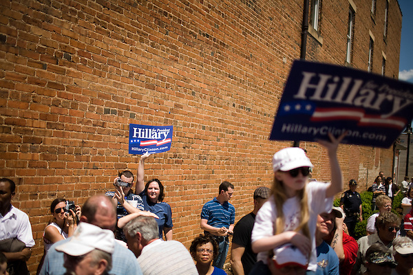 May 4, 2008. Marion, NC.. Just 2 days before the North Carolina primary, former president Bill Clinton campaigned across rural western North Carolina, stumping for his wife. Senator Hillary Clinton, in her drive for rural and working class votes. . Margaret Roper, of Marion, left, says she already voted for Hillary.