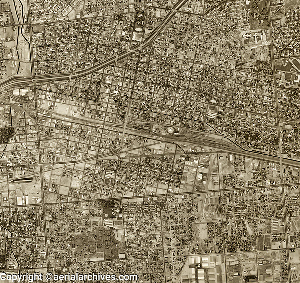 historical aerial photograph Bakersfield, California, 1974