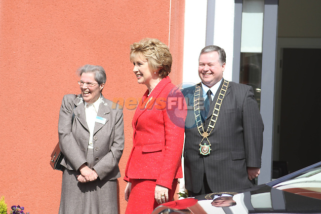 President Mary McAleese arrives in Drogheda to Officially Open the Drogheda Womens and Childrens Refuge...(Photo credit should read Jenny Matthews www.newsfile.ie)....This Picture has been sent you under the conditions enclosed by:.Newsfile Ltd..The Studio,.Millmount Abbey,.Drogheda,.Co Meath..Ireland..Tel: +353(0)41-9871240.Fax: +353(0)41-9871260.GSM: +353(0)86-2500958.email: pictures@newsfile.ie.www.newsfile.ie.